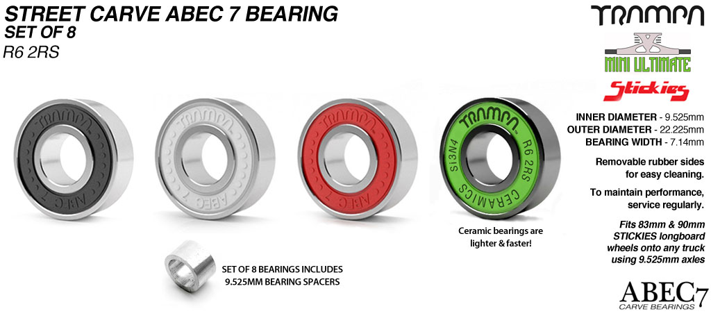 9.525mm R6-2RS Stickies Wheel Bearing used to fit STICKIES Longboard Wheels to 9.525mm Axels (9.525 x 22.225 x 7.14mm) x8