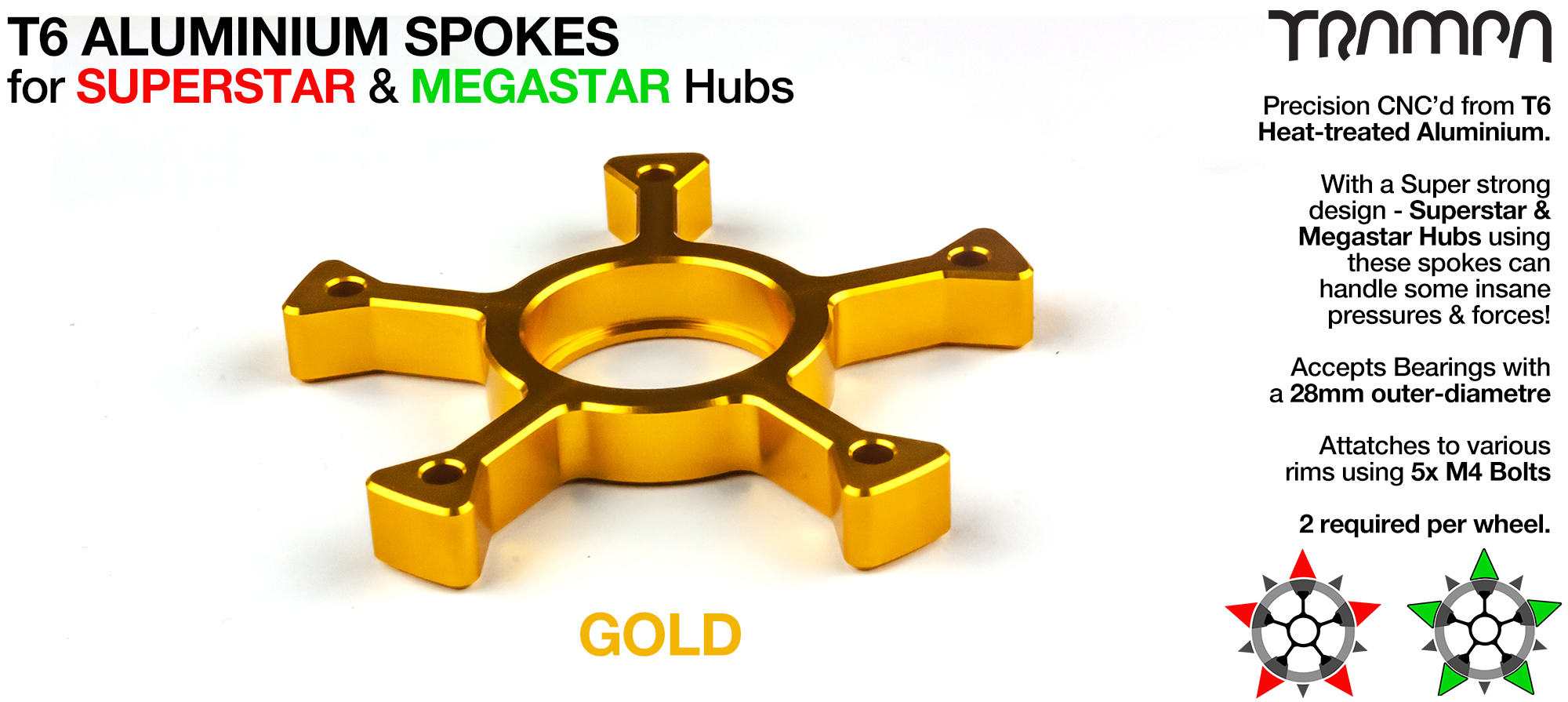 GOLD Anodised Spokes - OUT OF STOCK