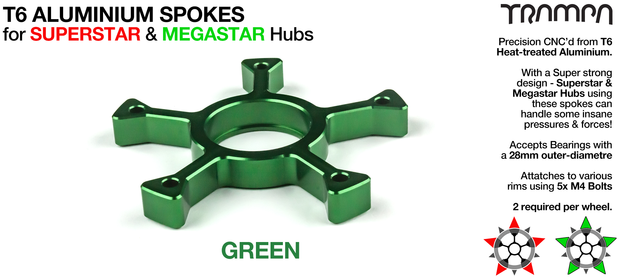 GREEN Anodised Spokes - OUT OF STOCK