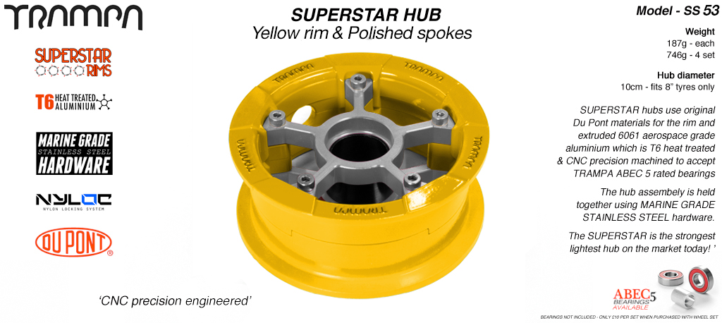 Superstar Hub - Yellow Rim with Polished spokes