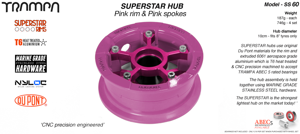 Superstar Hub - Pink Rim with Pink spokes