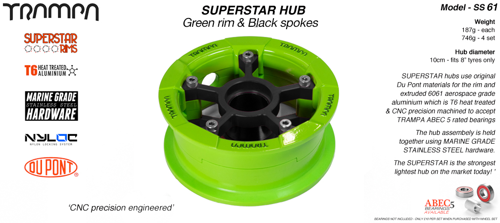 Superstar Hub - Green Rim with Black spokes