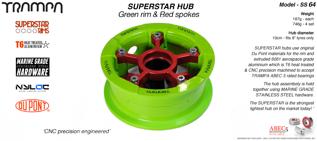 Superstar Hub - Green Rim with Red spokes