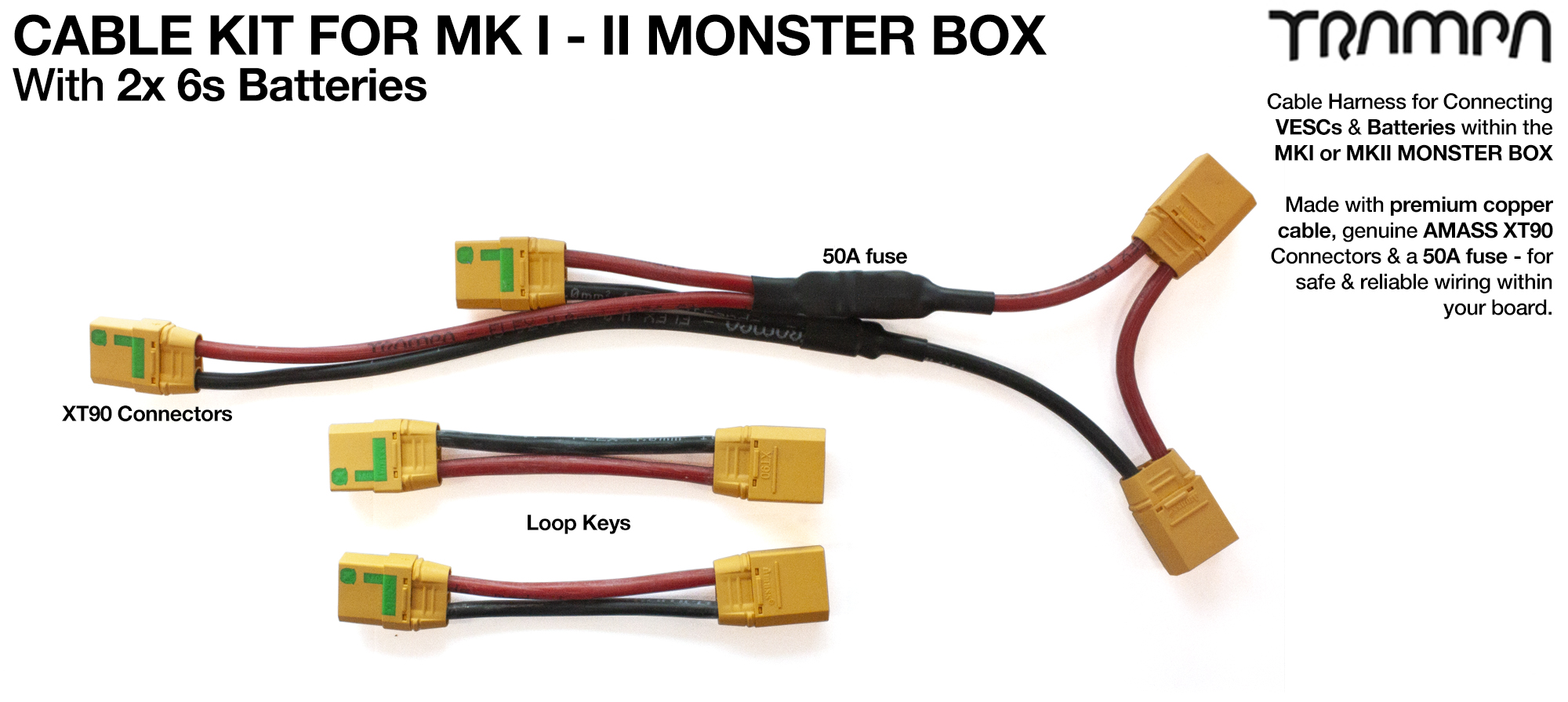 MKII Monster Box cable kit for TWIN Motor 12s1p x2   - Everything you need to plug in your board if using 2x LIPO batteries