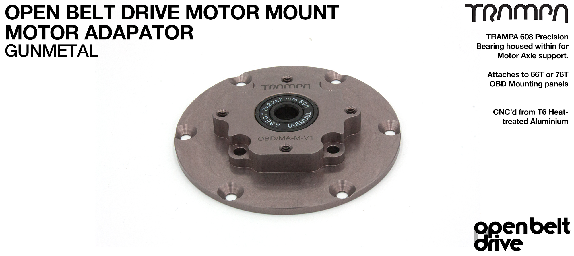 OBD Motor Adaptor with Housed Bearing - GUNMETAL