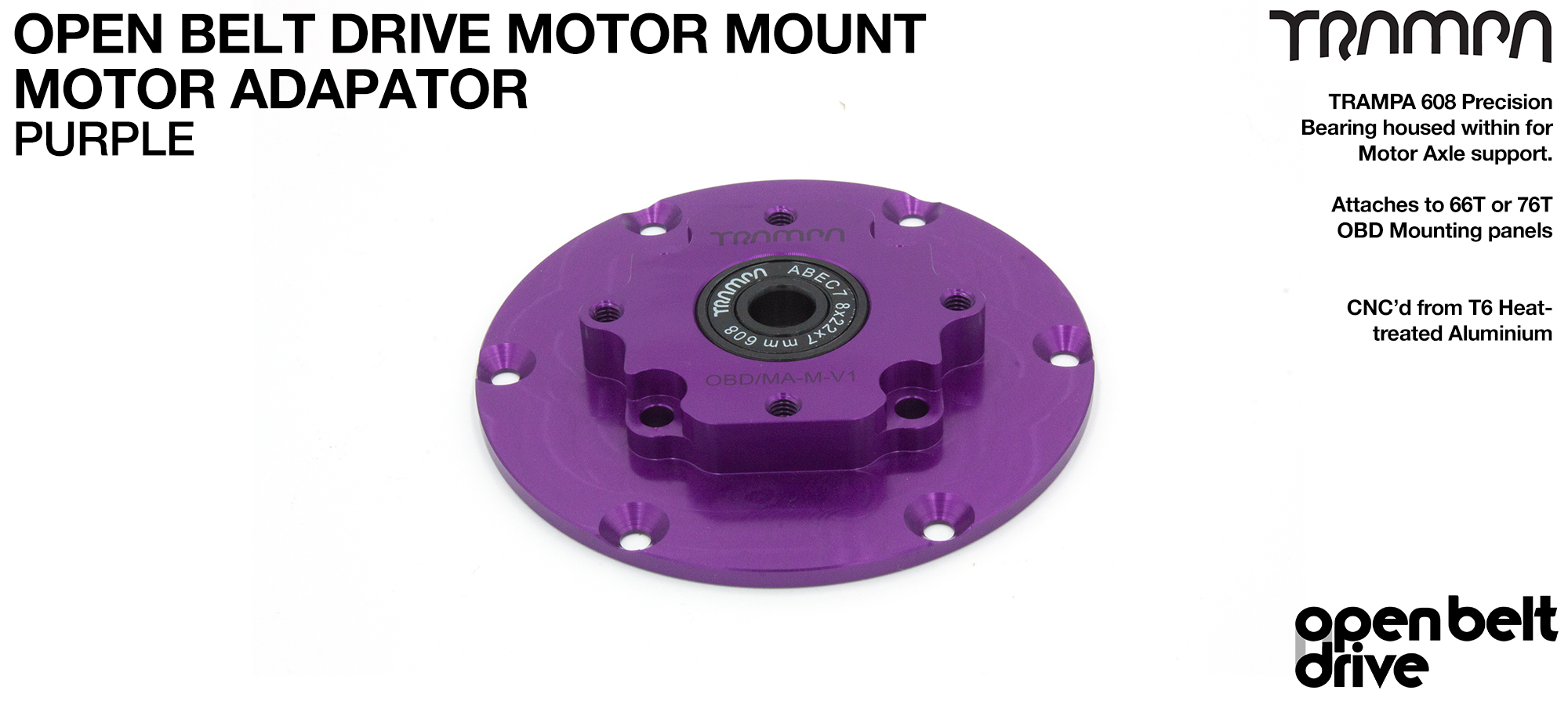 PURPLE OBD Motor Adaptors with Housed Bearing