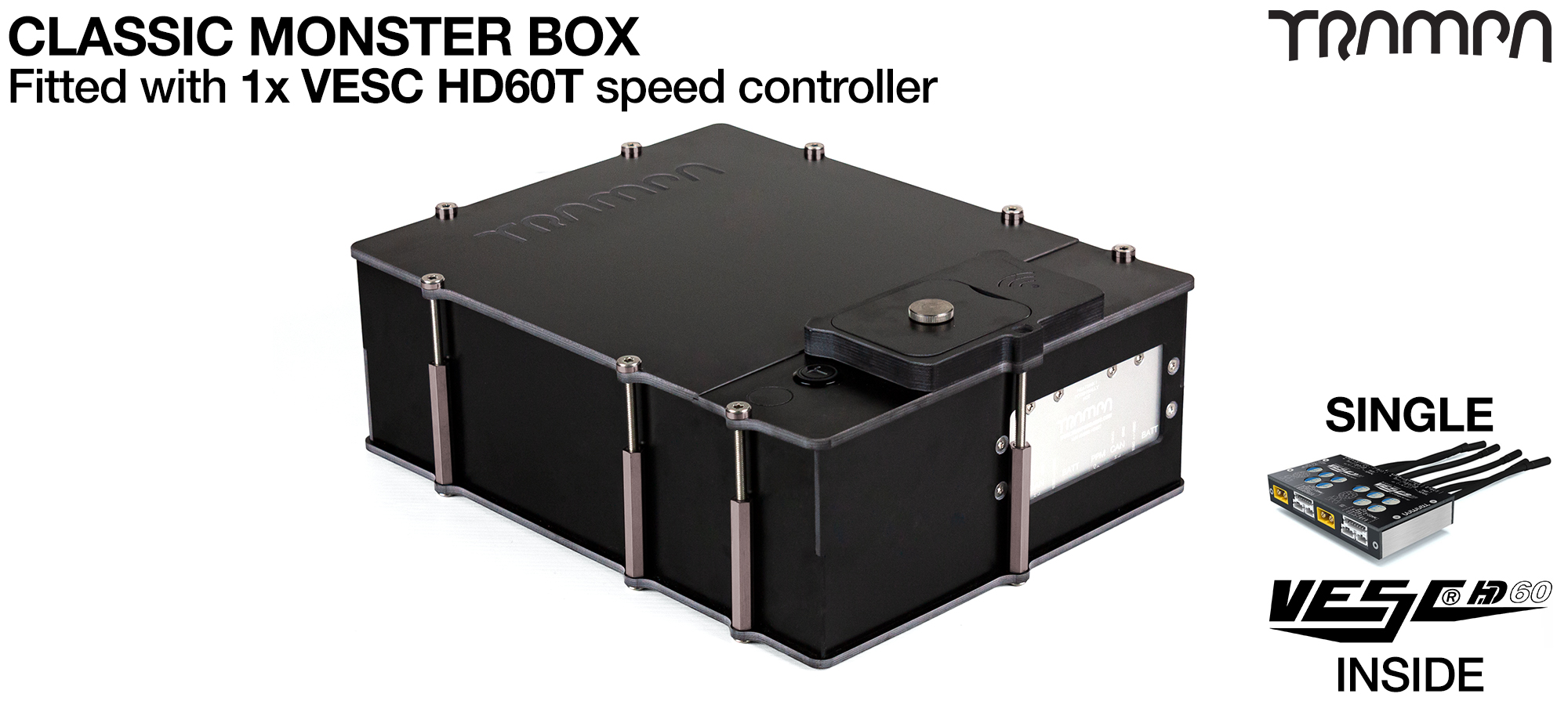MONSTER Box MkIV supplied with 1x VESC HD-60T for TWIN Motor Power from 1 device Fitted
