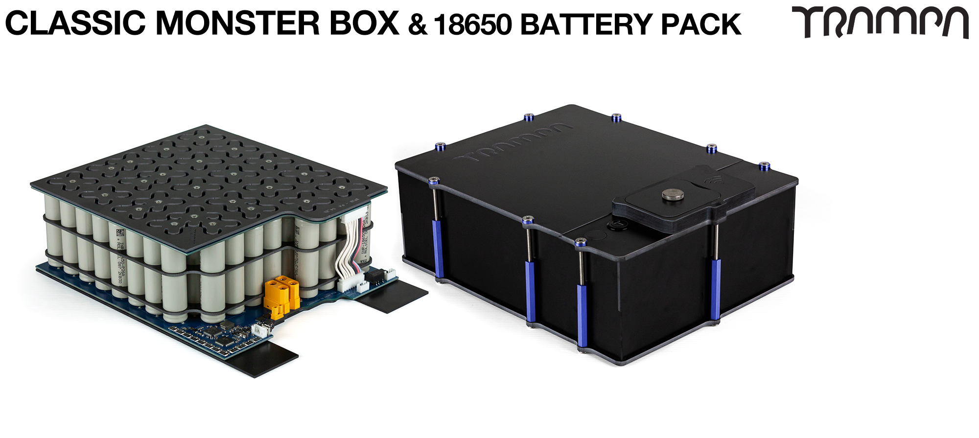 Classic MONSTER Box MkIV - with 18650 PCB Pack & 84x 18650 cells 12s7p 21Ah - NO VESC - PCB based Battery Pack with Integrated Battery Management System (BMS) with 84x 18650 cells to make 12s7p 21A - UK CUSTOMERS ONLY