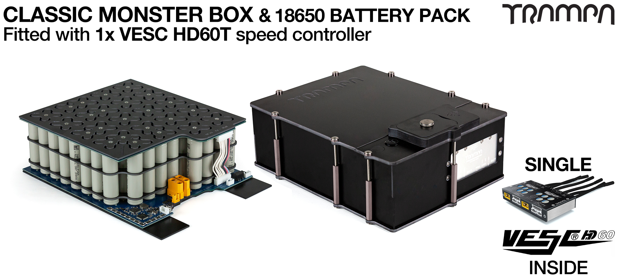 MONSTER Box MkIV - with 18650 PCB Pack, 1x VESC HD-60Twin & 84x 18650 cells 12s7p 21Ah - PCB based Battery Pack with Integrated Battery Management System (BMS) - UK CUSTOMERS ONLY