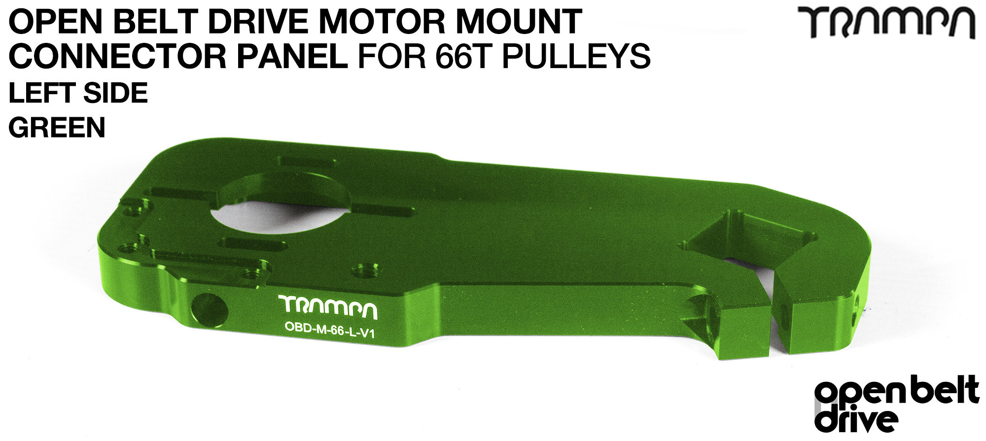 OBD Motor Mount Connector Panel for 66 tooth Pulleys - REGULAR - GREEN