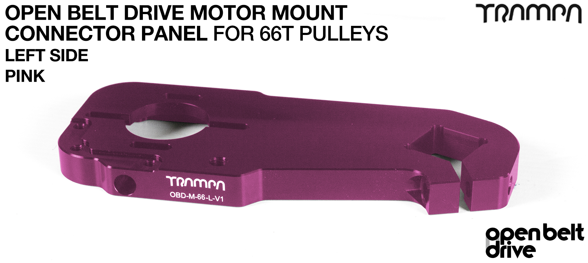 OBD Motor Mount Connector Panel for 66 tooth Pulleys - REGULAR - PINK