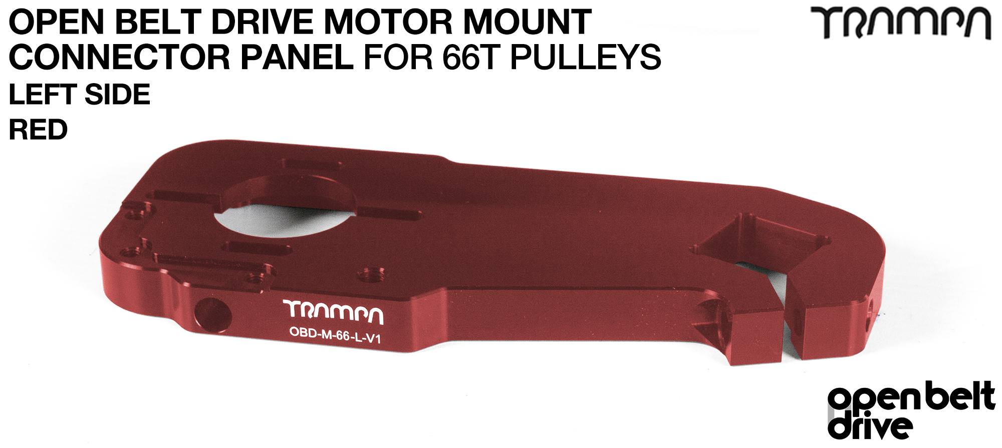 OBD Motor Mount Connector Panel for 66 tooth Pulleys - REGULAR - RED