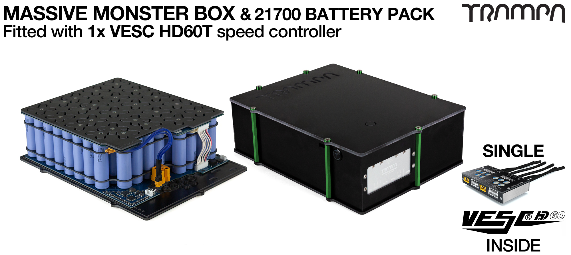 21700 2WD MASSIVE MONSTER Box 21700 PCB Pack with 1x VESC HD-60Twin & 84x 21700 cells 12s7p = 35Ah - Specifically made to work in conjunction with TRAMPA's Electric Decks but can be adapted to fit anything - UK Customers only