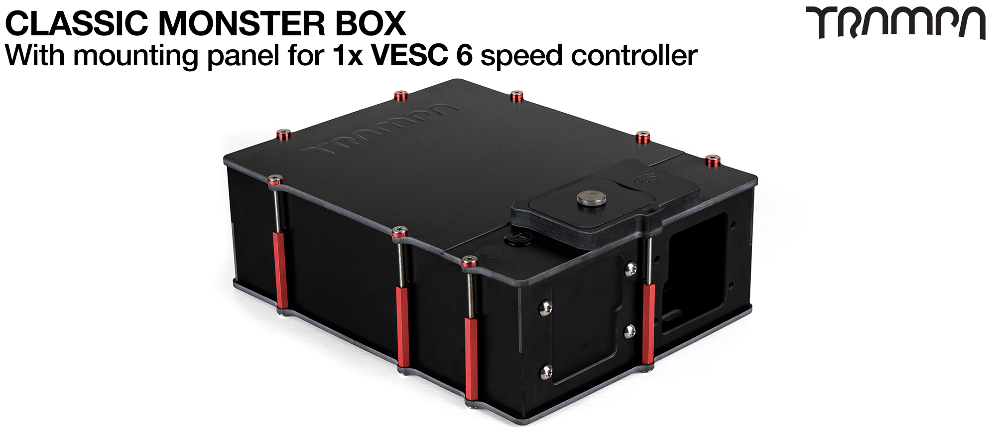 MONSTER Box MkIV fits 84x 18650 cells to give 12s7p 21A or 2x22000 mAh Lipos & has Panels to fit 1x VESC 6 Internally. Made specifically to work in conjunction with TRAMPA's 1WD Electric mountainboard ecks but also works on any thing it can be adapted too