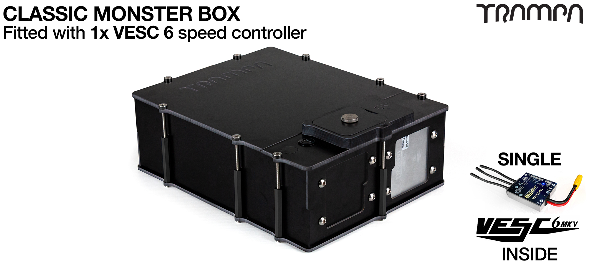MONSTER Box MkIV supplied with 1x VESC 6 & 1x Externaly Mounted NRF VESC Connect Dongle & Cable
