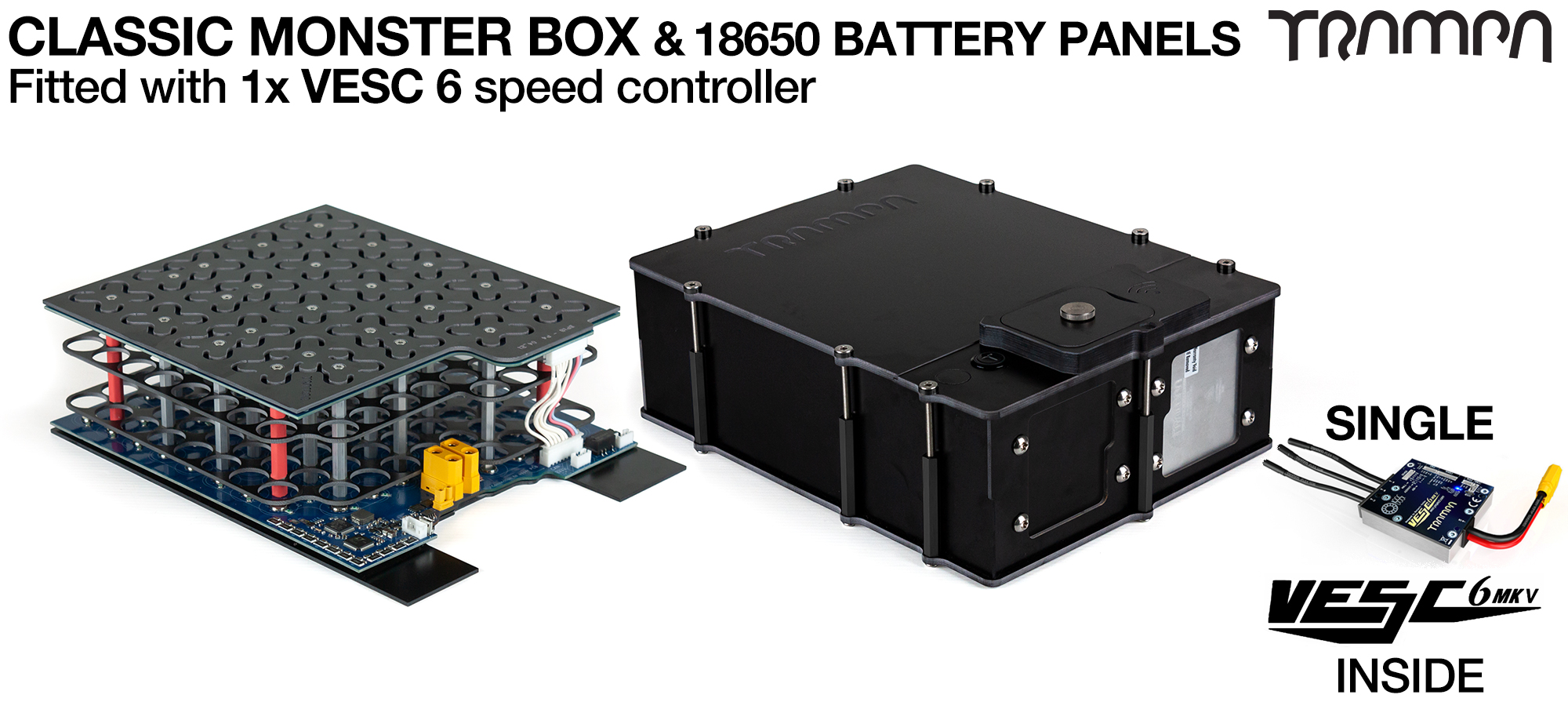 Classic MONSTER Box MkIV - with 18650 PCB Pack & 1x VESC 6 NRF fitted PCB based Battery Pack has Integrated Battery Management System (BMS) - NO Cells