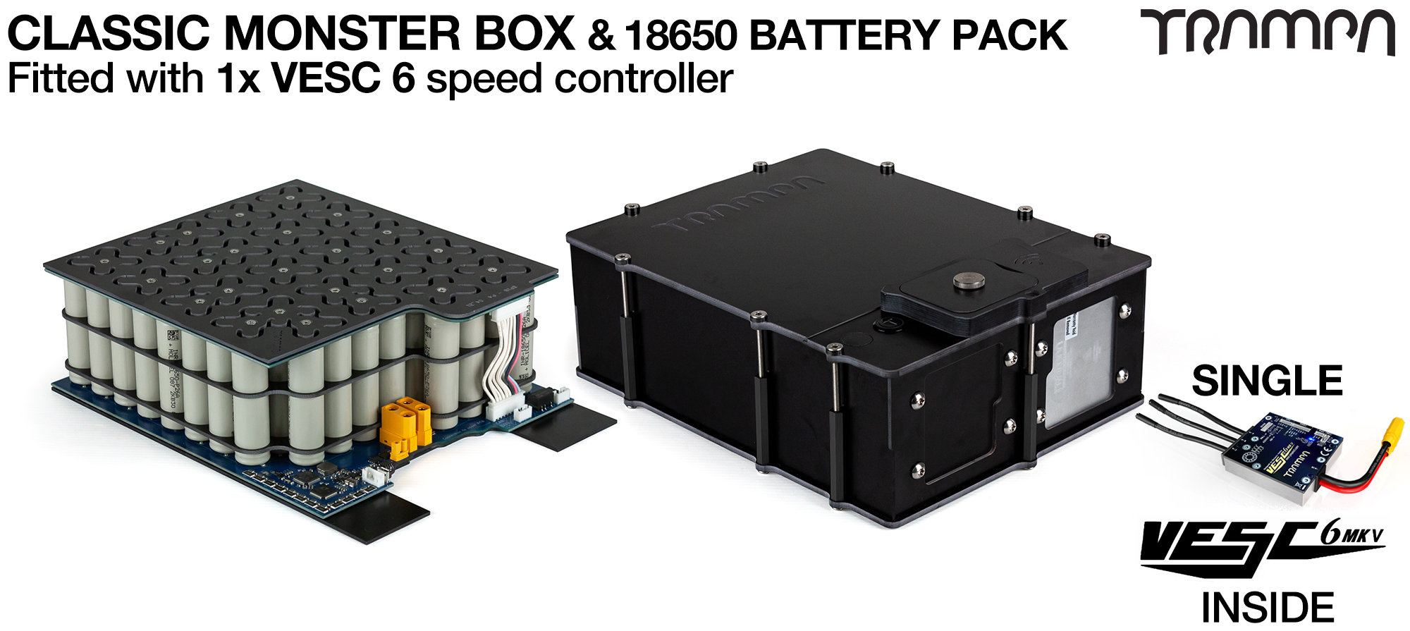 Classic MONSTER Box MkIV - with 18650 PCB Pack, 1x VESC 6 with NRF & 84x 18650 cells 12s7p 21Ah - PCB based Battery Pack with Integrated Battery Management System (BMS) - UK CUSTOMERS ONLY