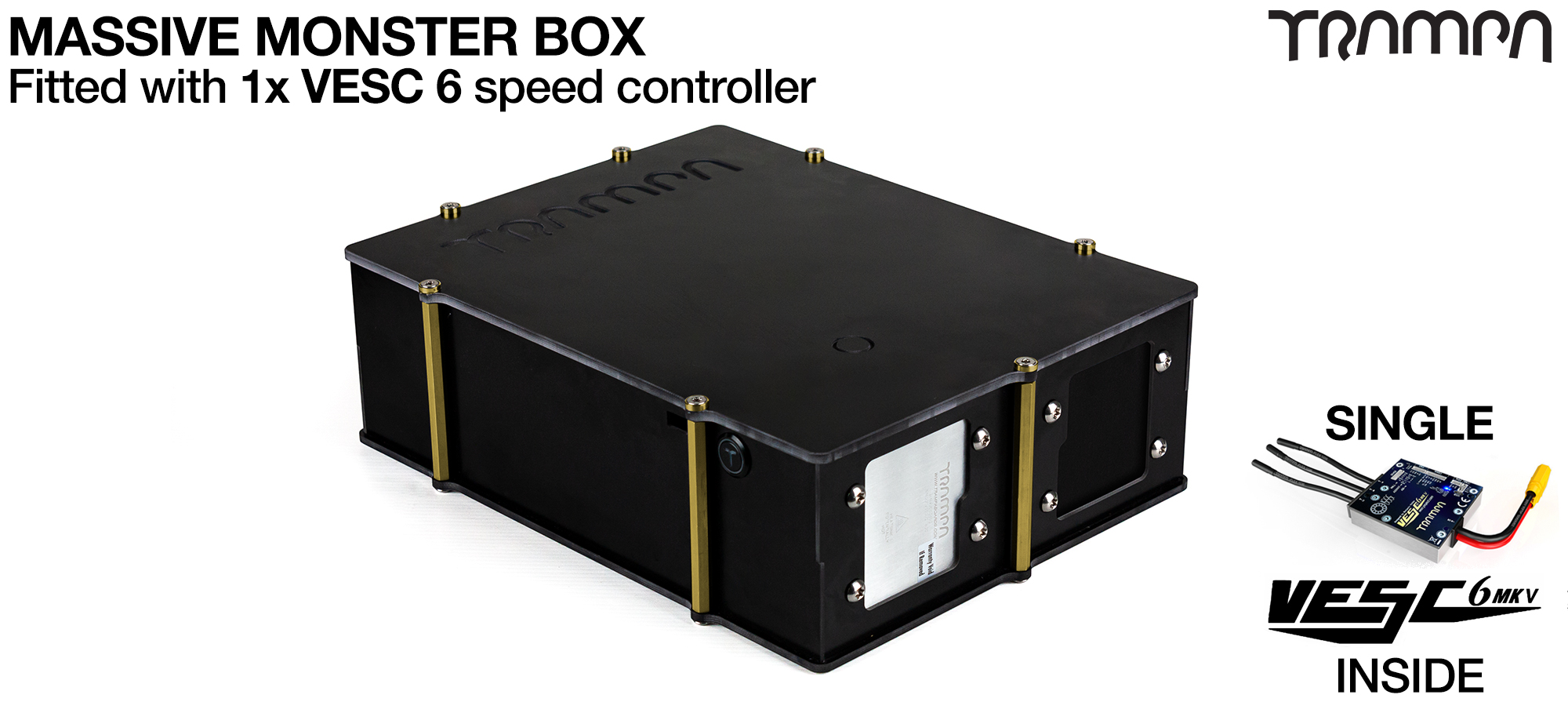 MASSIVE MONSTER Box with 1x VESC 6 & NRF - fits 84x 21700 cells & is Made specifically to work in conjunction with TRAMPA's Electric Decks but can be modified to power many things!
