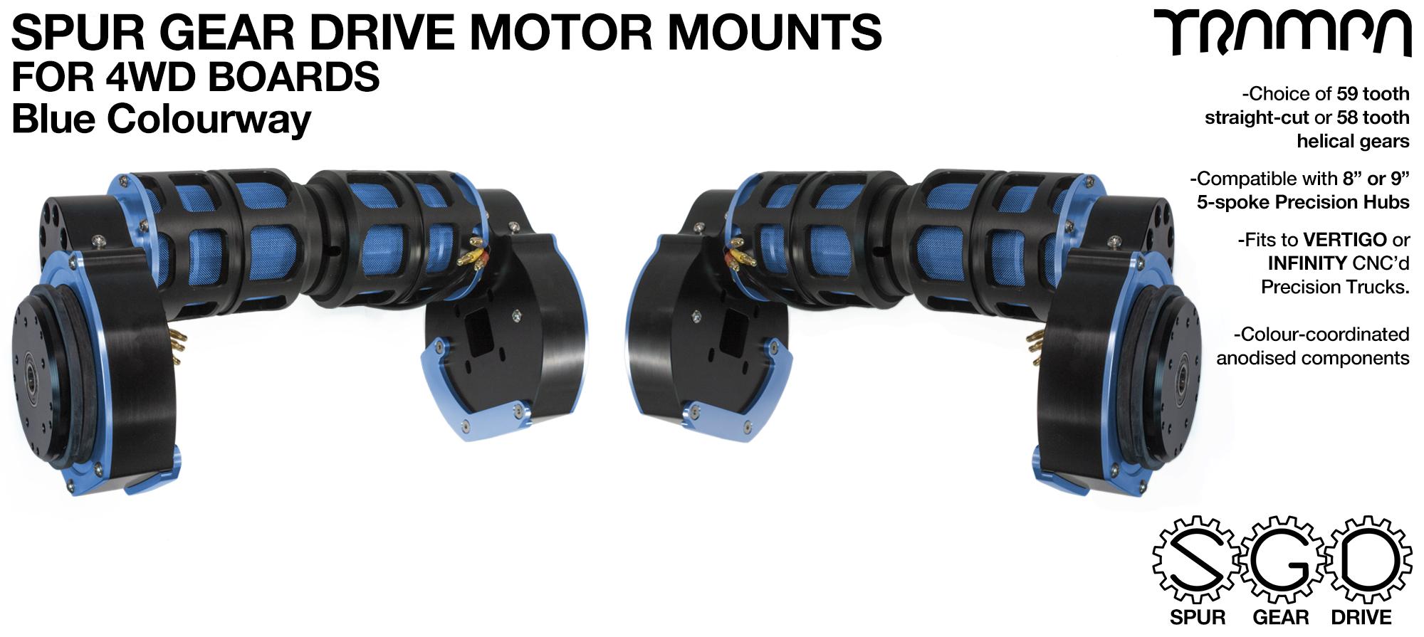 BLUE 4WD Spur Gear Drive Motor Mount