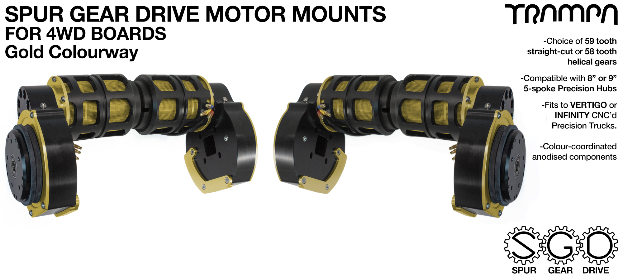 GOLD 4WD Spur Gear Drive Motor Mount