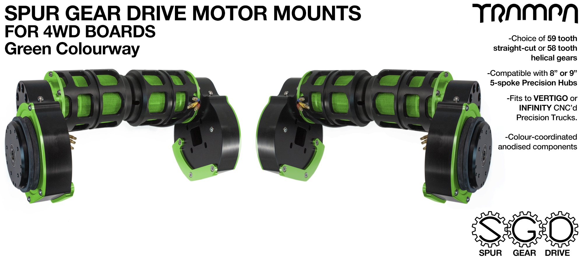 GREEN 4WD Spur Gear Drive Motor Mount