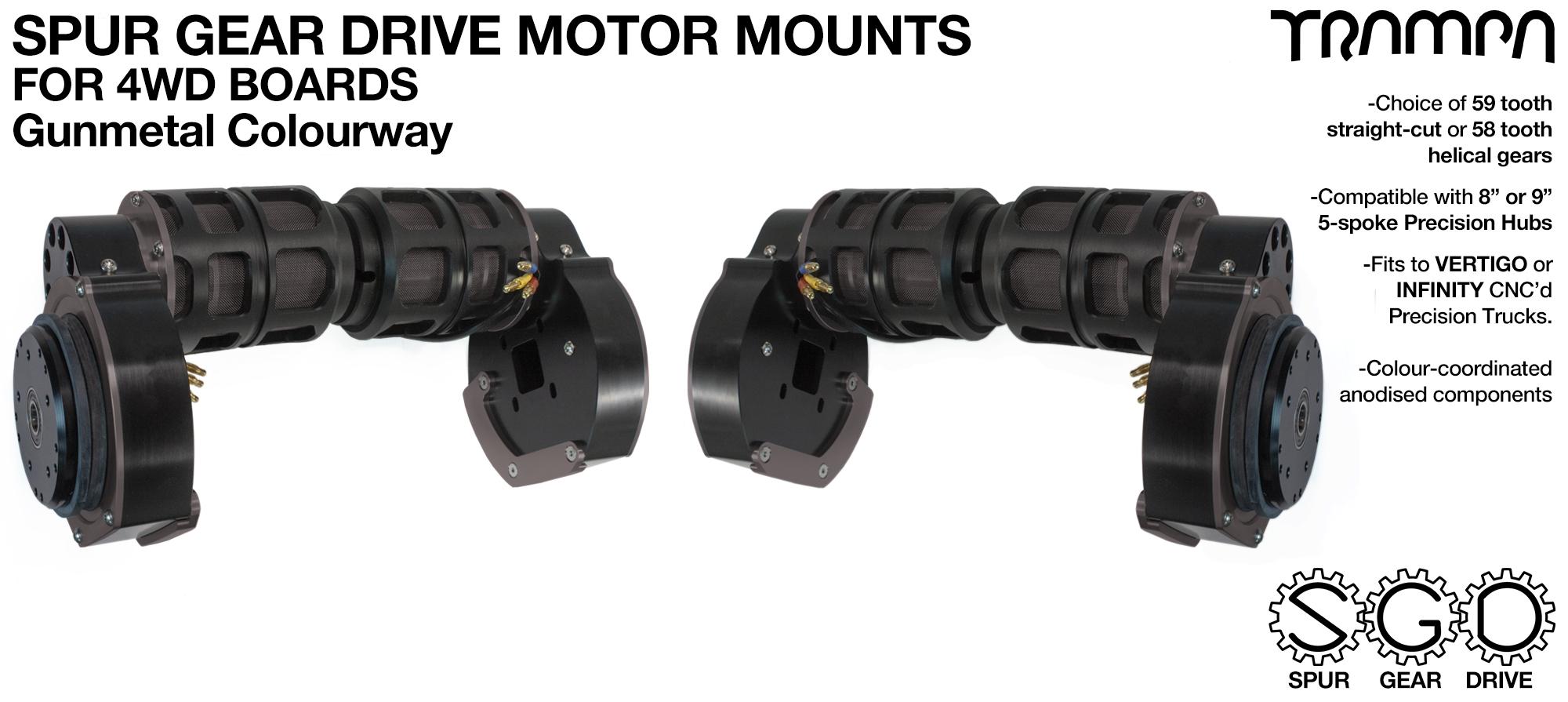GUNMETAL 4WD Spur Gear Drive Motor Mount