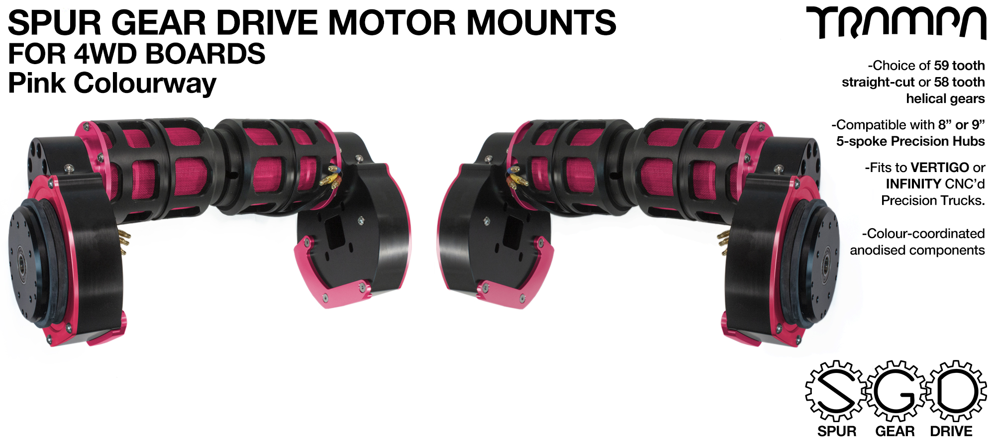 PINK 4WD Spur Gear Drive Motor Mount