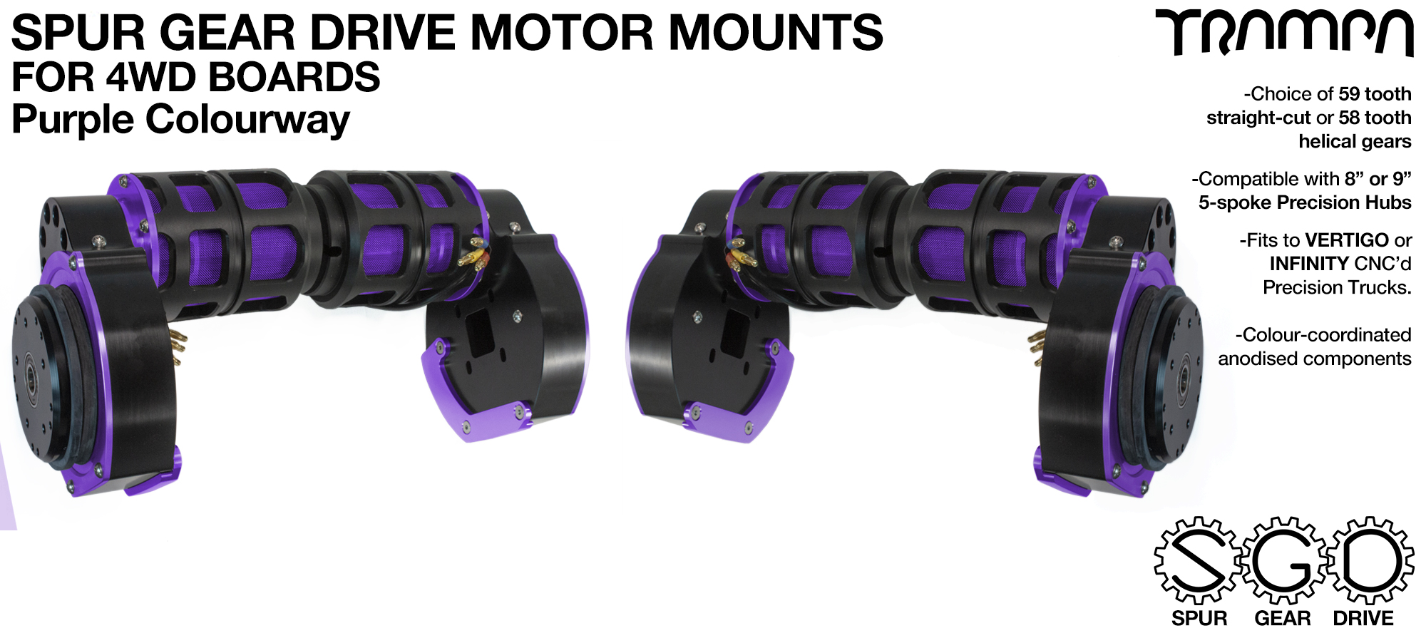 PURPLE 4WD Spur Gear Drive Motor Mount