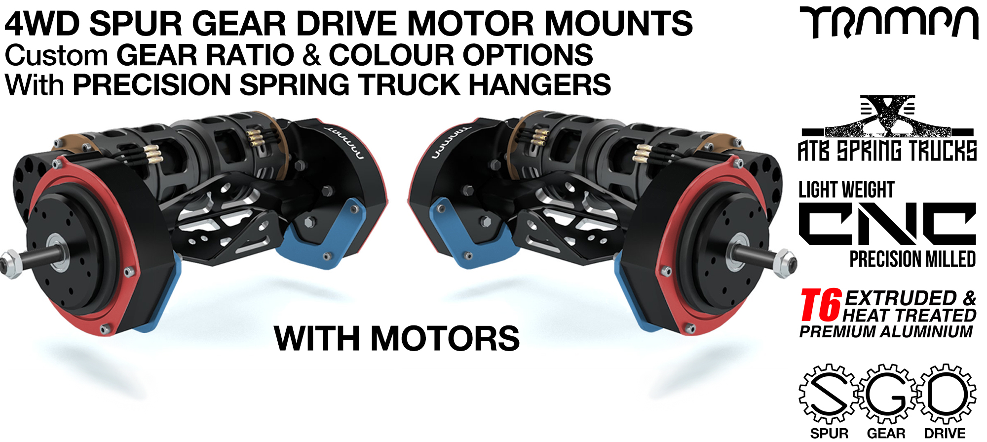 4WD Mountainboard Spur Gear Drive Motor Mounts on Hangers with Custom Motors