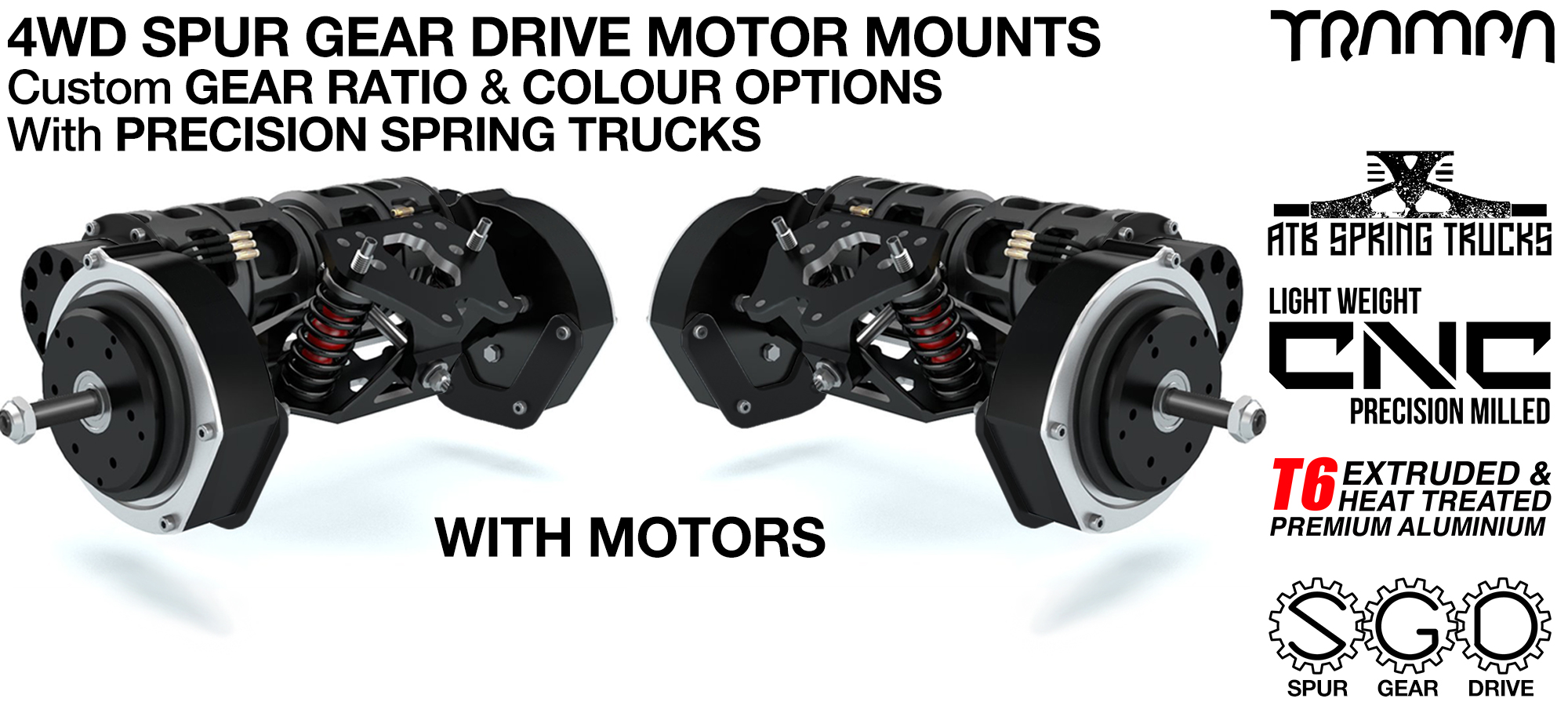 4WD Mountainboard Spur Gear Drive Motor Mounts on CNC Precision TRUCKS with Custom Motors