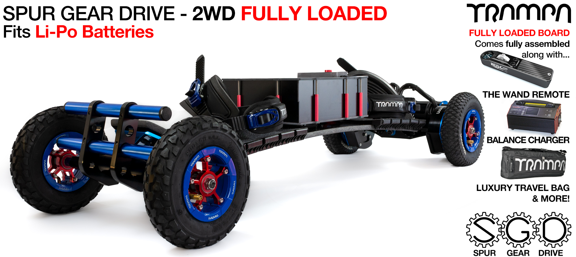 2WD SPUR GEAR DRIVE Electric Mountainboard - FULLY LOADED PHATLAD with 9 inch PHATLADs on rear 8 inch HYPA's on front, Mud-Pluggers supplied with The WAND, 15A Charger