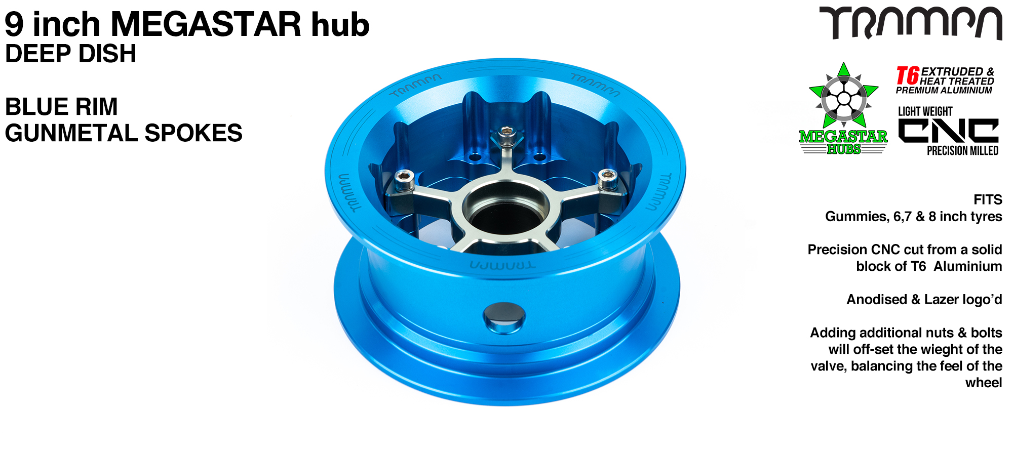 9 Inch DEEP DISH MEGASTAR Hub - BLUE Rim with GUNMETAL Spokes