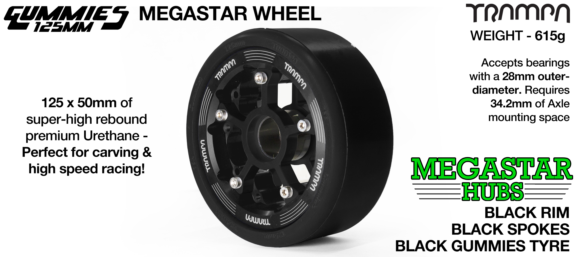 BLACK MEGASTAR Rim with BLACK Spokes with BLACK Gummies - The Ultimate Longboard Wheel