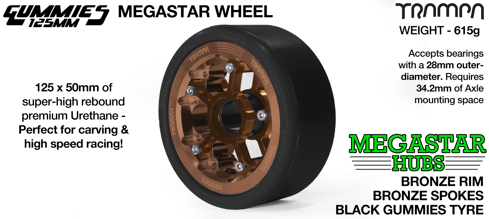 BRONZE MEGASTAR Rim with BRONZE Spokes with BLACK Gummies  - The Ultimate Longboard Wheel