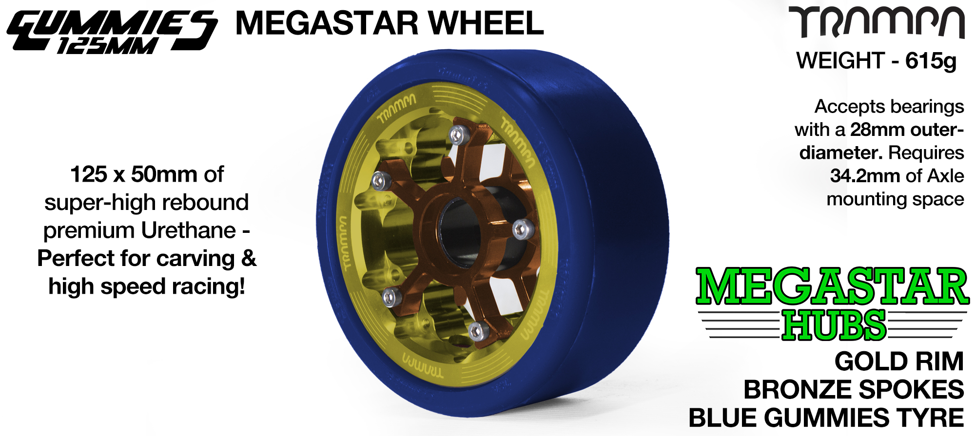 GOLD MEGASTAR Rim with BRONZE Spokes with BLUE Gummies  - The Ultimate Longboard Wheel