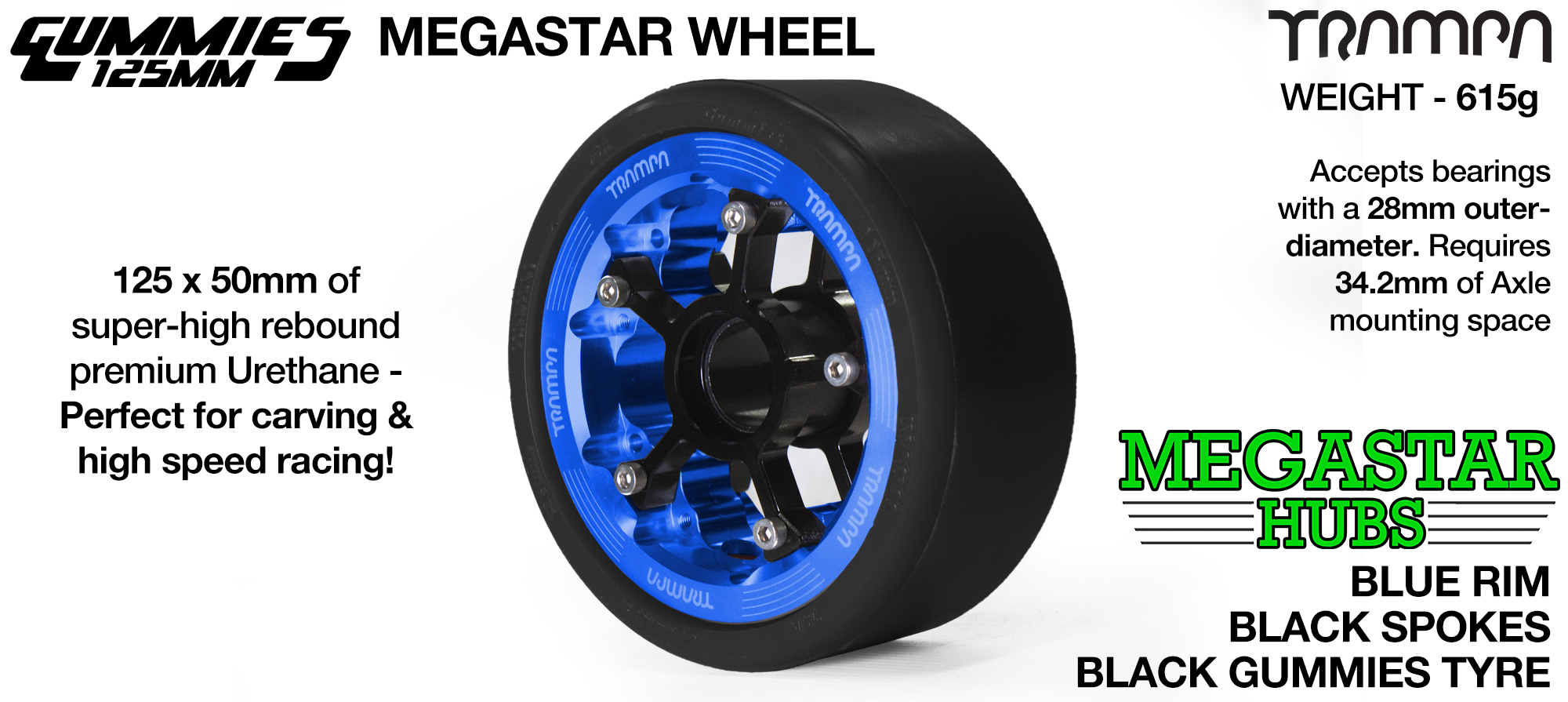 BLUE MEGASTAR Rim with BLACK Spokes with BLACK Gummies   - The Ultimate Longboard Wheel
