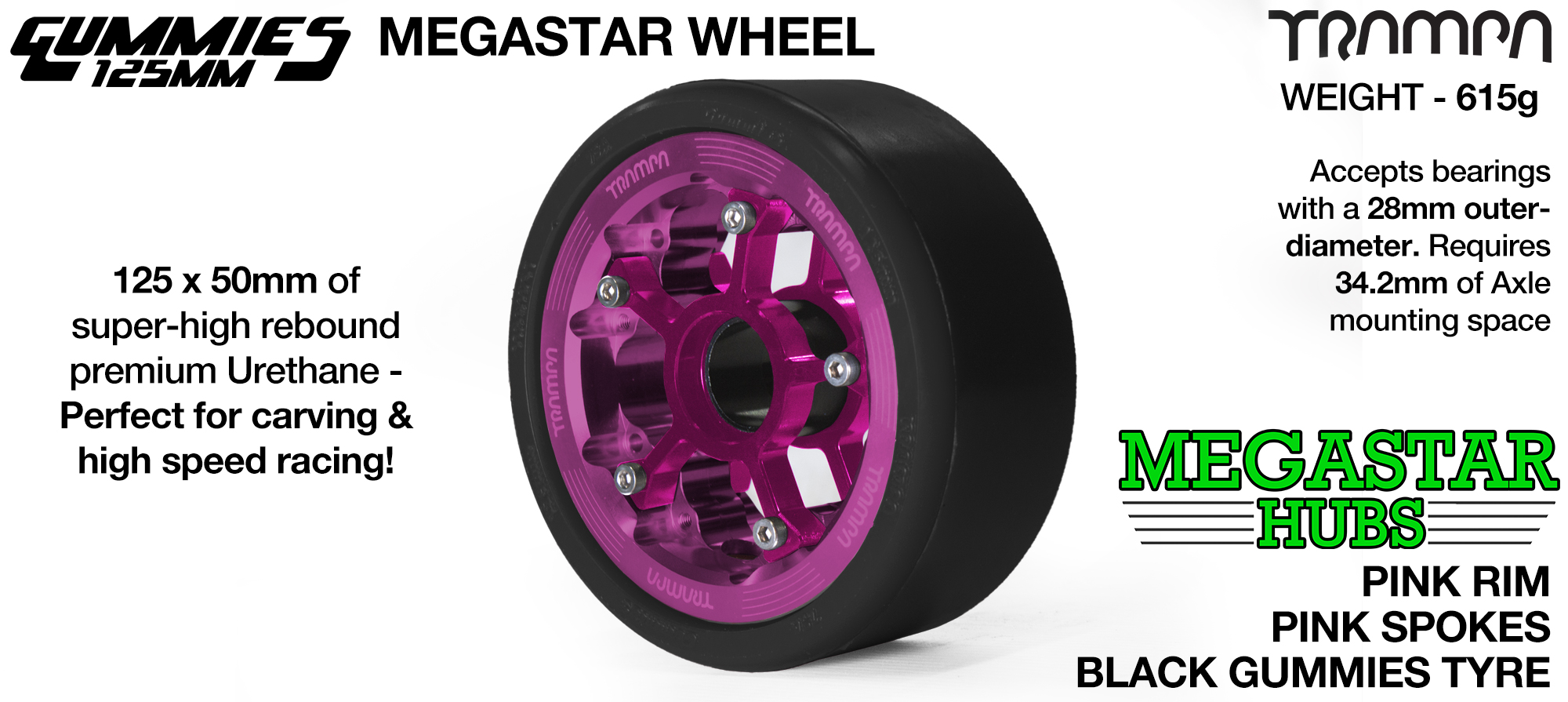 PINK MEGASTAR Rim with PINK Spokes with BLACK Gummies  - The Ultimate Longboard Wheel