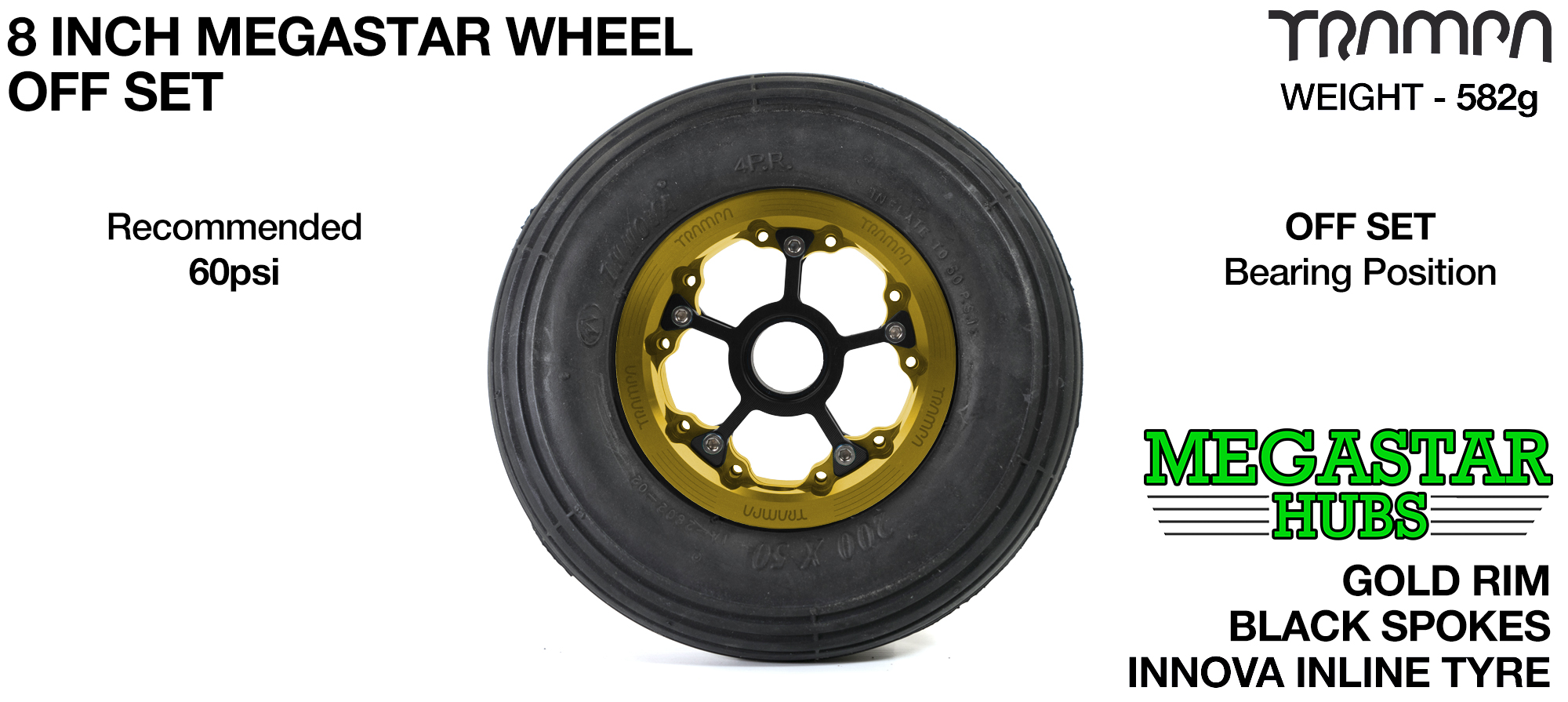 "GOLD MEGASTAR Rims with BLACK Spokes & 8"" INLINE Tyres"