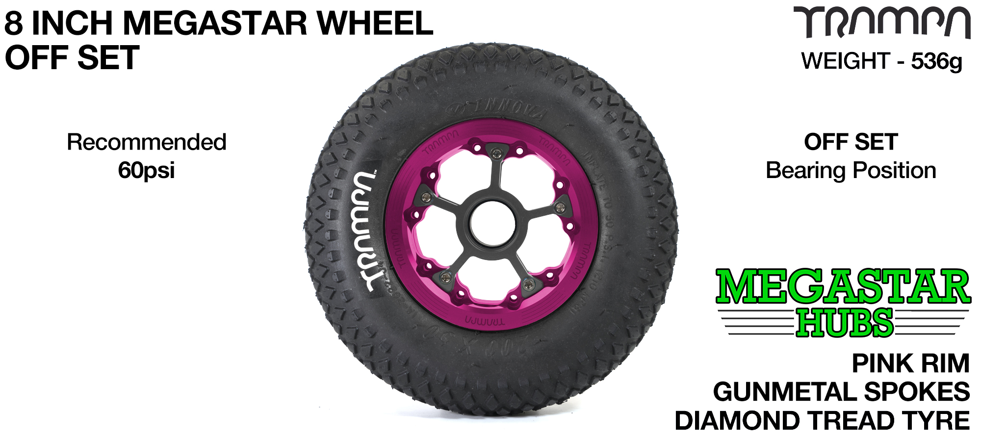 "PINK MEGASTAR Rims with GUNMETAL Spokes & 8"" DIAMOND Tyres"