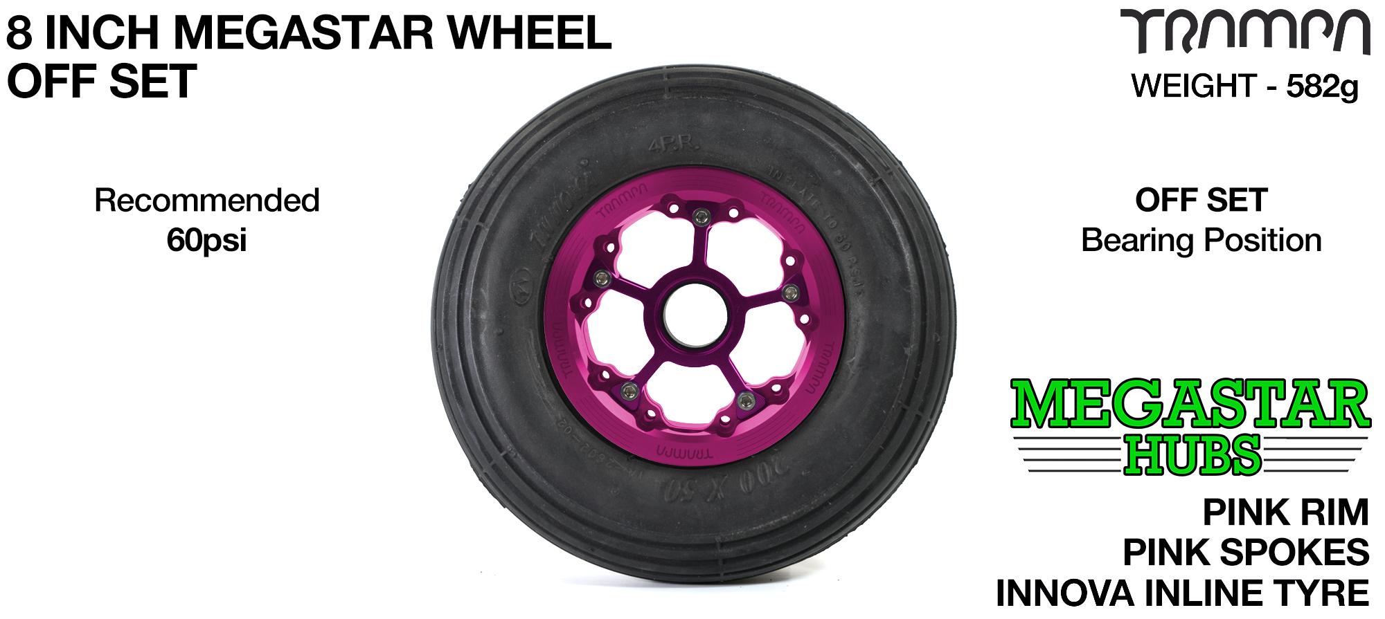 "PINK MEGASTAR Rims with PINK Spokes & 8"" INLINE Tyres"