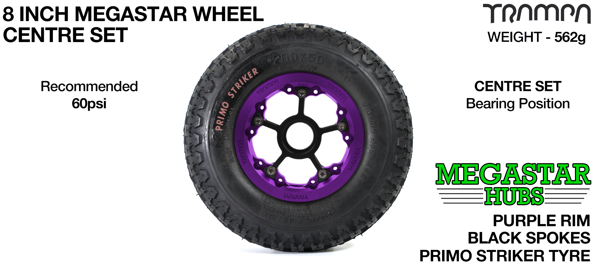 "PURPLE MEGASTAR Rims with BLACK Spokes & 8"" STRIKER Tyres"