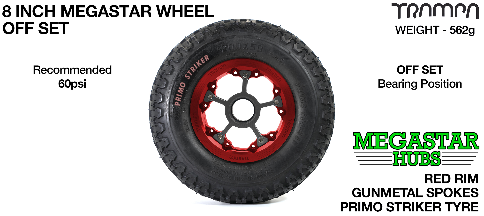 "RED MEGASTAR Rims with GUNMETAL Spokes & 8"" STRIKER Tyres"