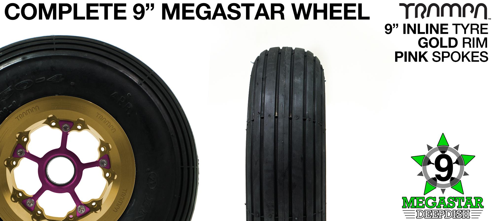 GOLD 9 inch Deep-Dish MEGASTARS Rim with PINK Spokes & 9 Inch INNOVA INLINE Tyre