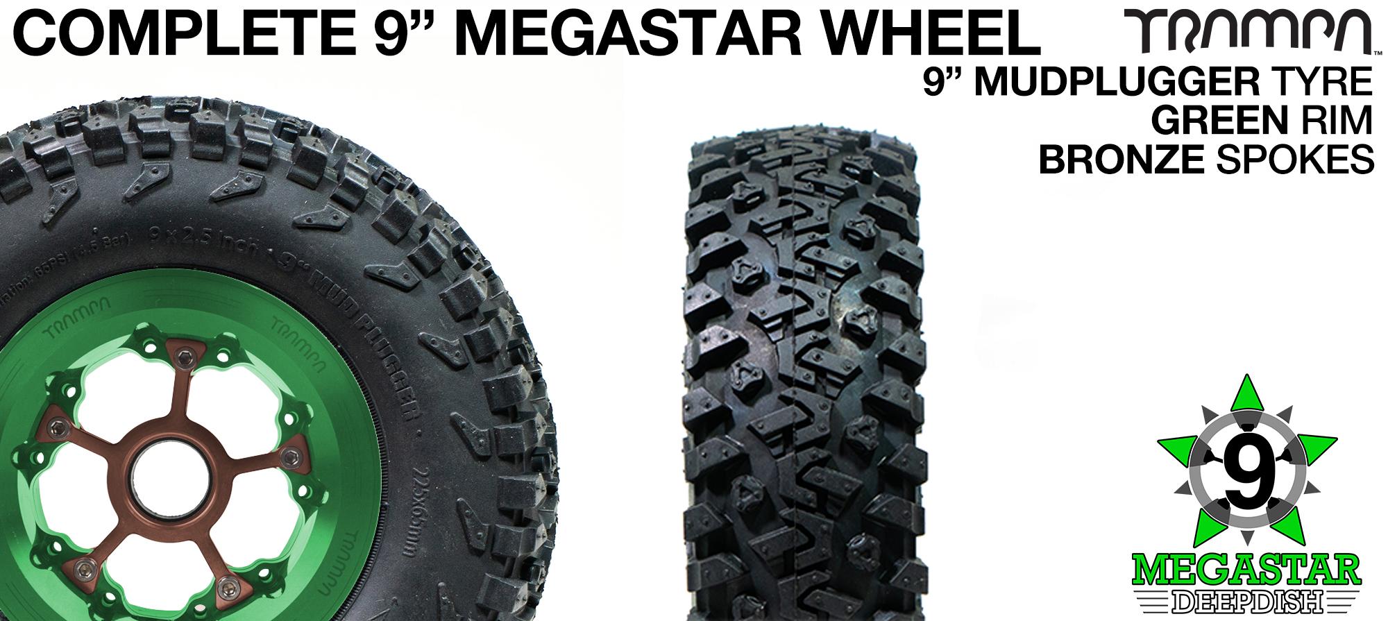 GREEN 9 inch Deep-Dish MEGASTARS Rim with BRONZE Spokes & 9 Inch MUDPLUGGER Tyre
