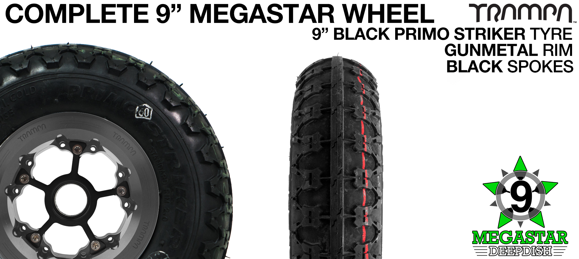 GUNMETAL 9 inch Deep-Dish MEGASTARS Rim with BLACK Spokes & 9 Inch STRIKER Tyre