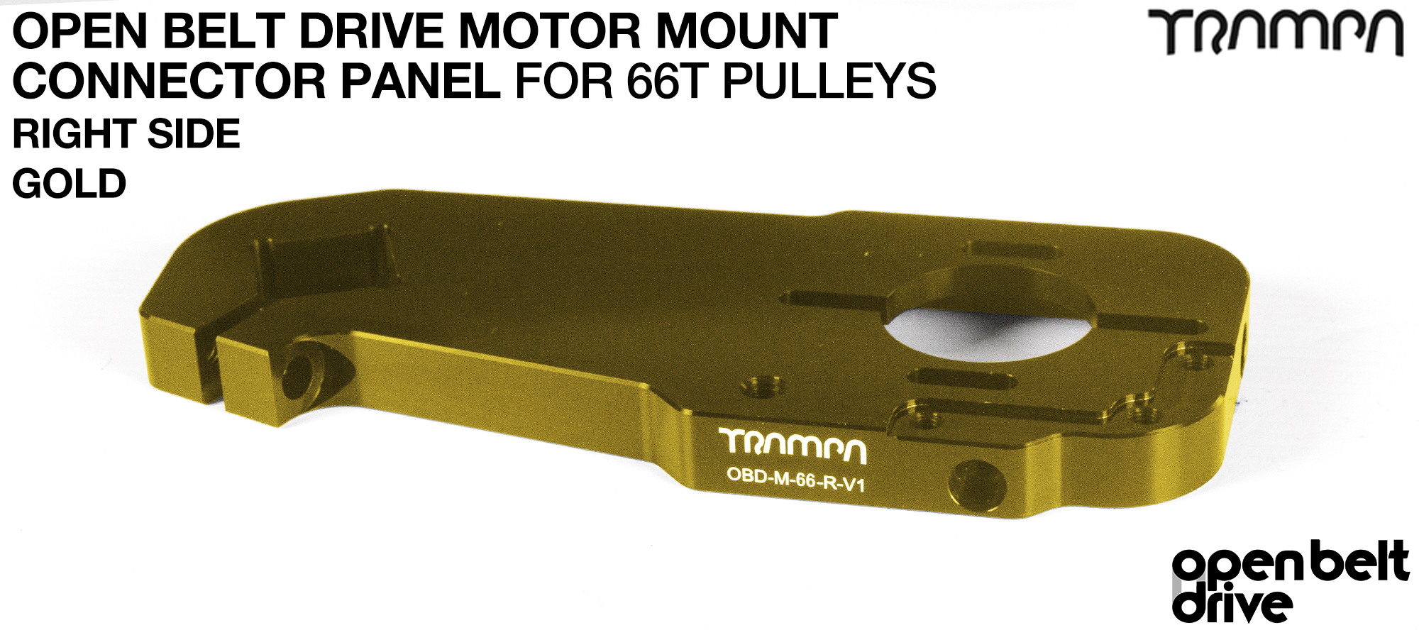 OBD Open Belt Drive Motor Mount Connector Panel for 66 tooth Pulleys - GOOFY - GOLD