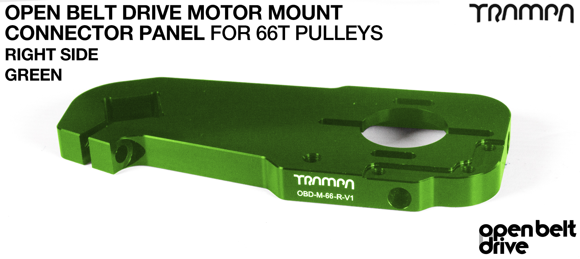 OBD Open Belt Drive Motor Mount Connector Panel for 66 tooth Pulleys - GOOFY - GREEN