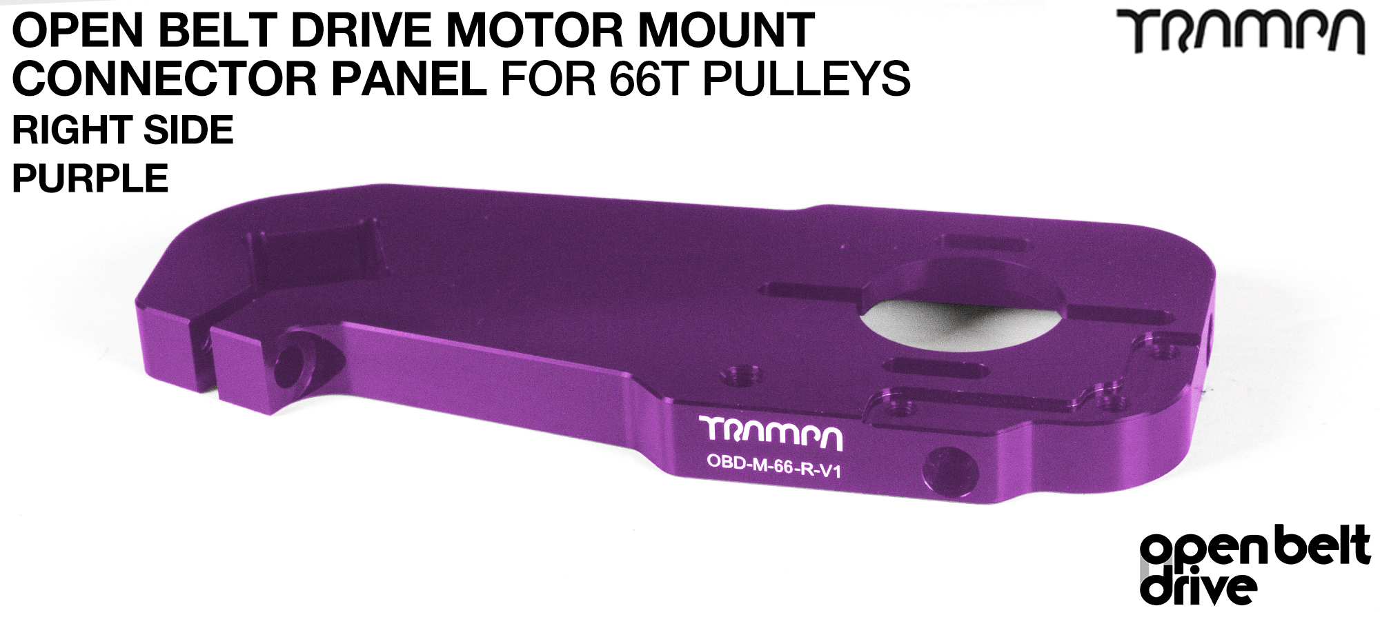 OBD Open Belt Drive Motor Mount Connector Panel for 66 tooth Pulleys - GOOFY - PURPLE