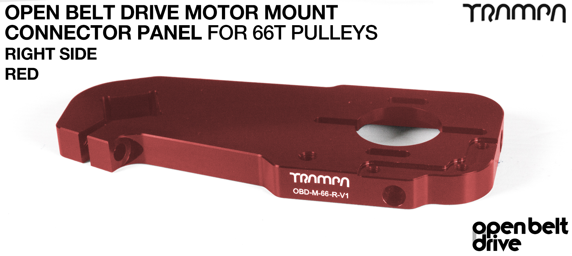 OBD Open Belt Drive Motor Mount Connector Panel for 66 tooth Pulleys - GOOFY - RED