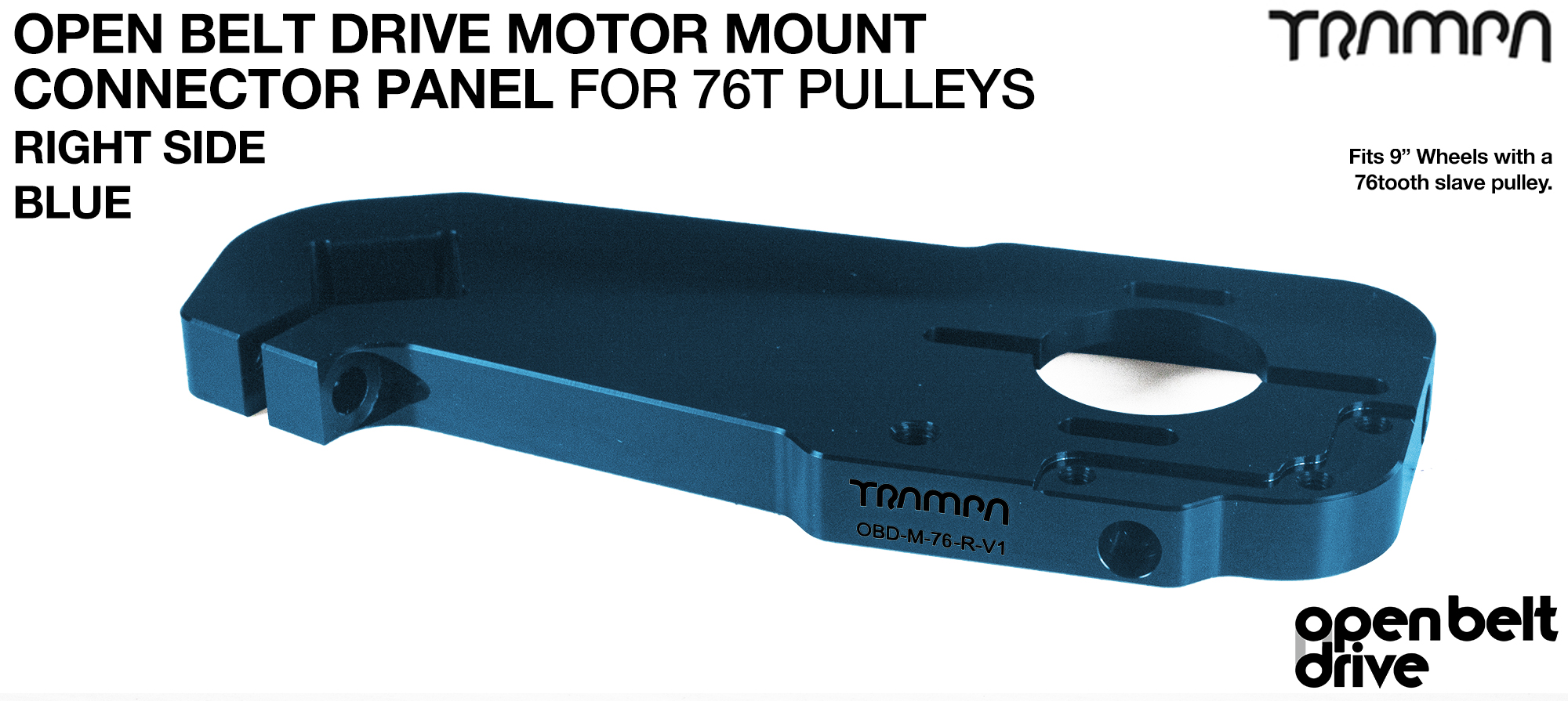 OBD Motor Mount Connector Panel for 76 tooth Pulleys - GOOFY - BLUE